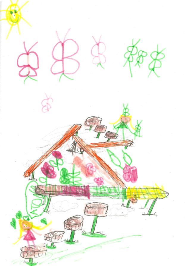 Ce dessin de mes enfants a servi de base à la conception. La relève de papa est assurée!
